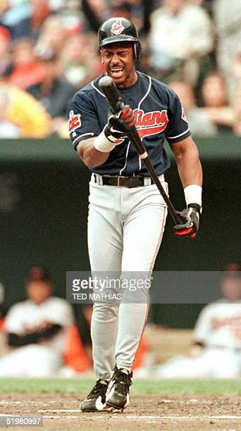 Cleveland Indians Julio Franco shows his frustration at being struck out by Baltimore Orioles starter Scott Erickson in the first inning during the...