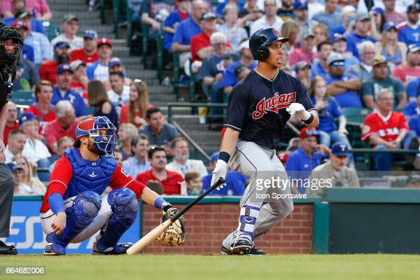 Cleveland Indians Left field Michael Brantley gets a hit during the MLB opening day baseball game between the Texas Rangers and Cleveland Indians on...