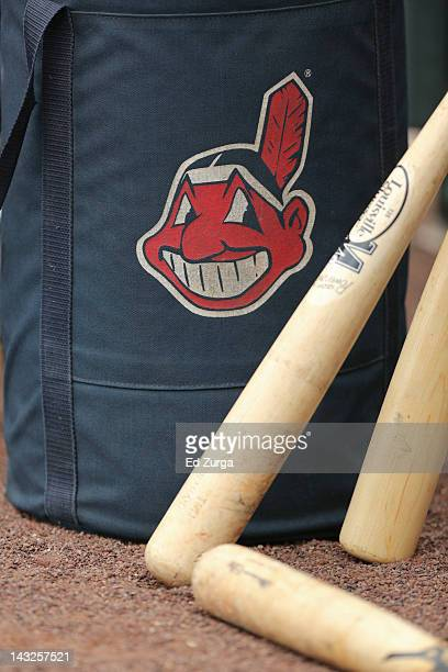 Cleveland indians logo on a practice bag sits next to players' bats before a game between the Cleveland Indians and Kansas City Royals on April 14...