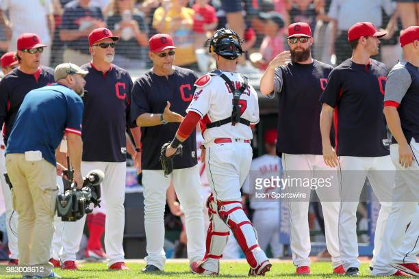 Cleveland Indians manager Terry Francona congratulates Cleveland Indians catcher Yan Gomes following the Major League Baseball game between the...