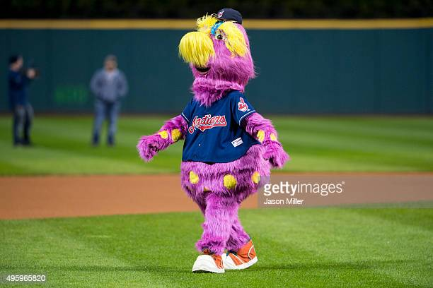 Cleveland Indians mascot Slider on the field prior to the game against the Boston Red Sox at Progressive Field on October 3 2015 in Cleveland Ohio