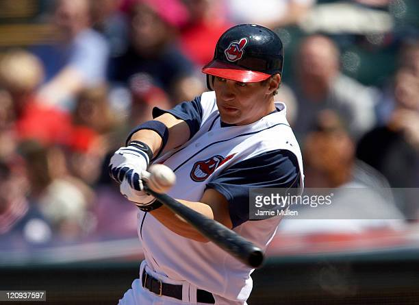 Cleveland Indians outfielder Grady Sizemore in action during the game against the Minnesota Twins Saturday April 16 in Cleveland The Twins won 64