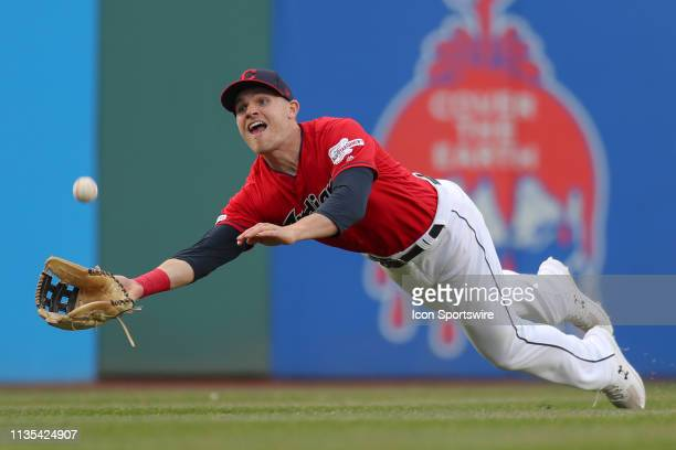 Cleveland Indians outfielder Jake Bauers makes a diving catch during the eighth inning of the Major League Baseball game between the Toronto Blue...
