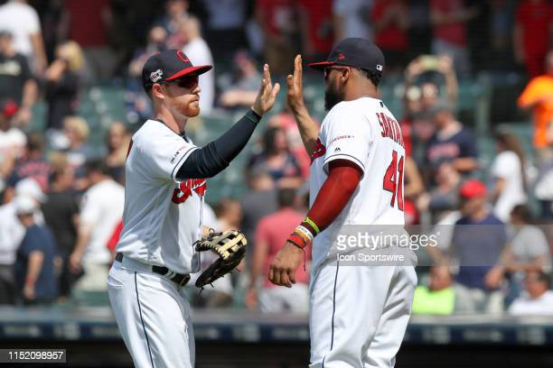 Cleveland Indians outfielder Jordan Luplow and Cleveland Indians designated hitter Carlos Santana celebrate following the Major League Baseball game...