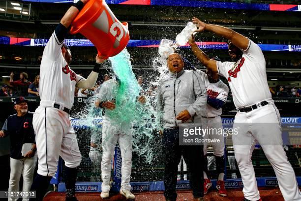 Cleveland Indians outfielder Tyler Naquin Cleveland Indians shortstop Francisco Lindor and Cleveland Indians designated hitter Bobby Bradley dump...