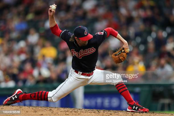 Cleveland Indians pitcher Adam Cimber delivers a pitch to the plate during the eighth inning of the Major League Baseball Interleague game between...