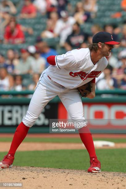 Cleveland Indians pitcher Adam Cimber looks in for a sign during the ninth inning of the Major League Baseball game between the Baltimore Orioles and...