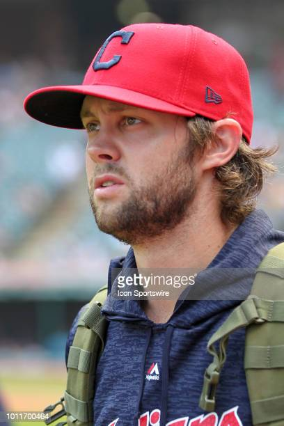 Cleveland Indians pitcher Adam Cimber prior to the Major League Baseball game between the Los Angeles Angels and Cleveland Indians on August 5 at...