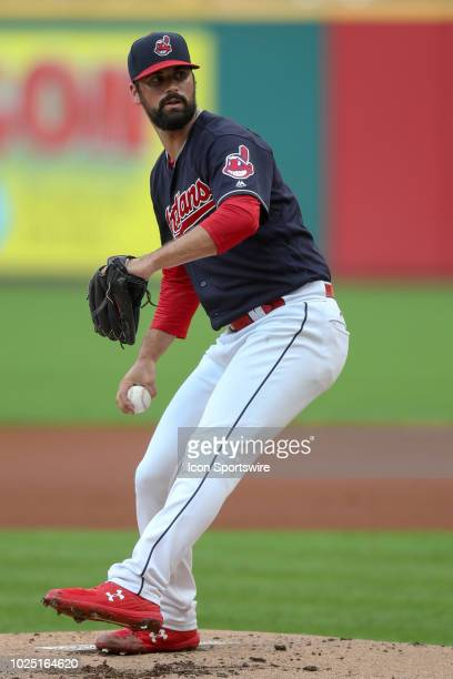 Cleveland Indians pitcher Adam Plutko delivers a pitch to the plate during the first inning of the Major League Baseball game between the Minnesota...