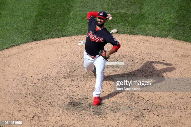 Cleveland Indians pitcher Adam Plutko delivers a pitch to the plate during the ninth inning of the Major League Baseball game between the Detroit...