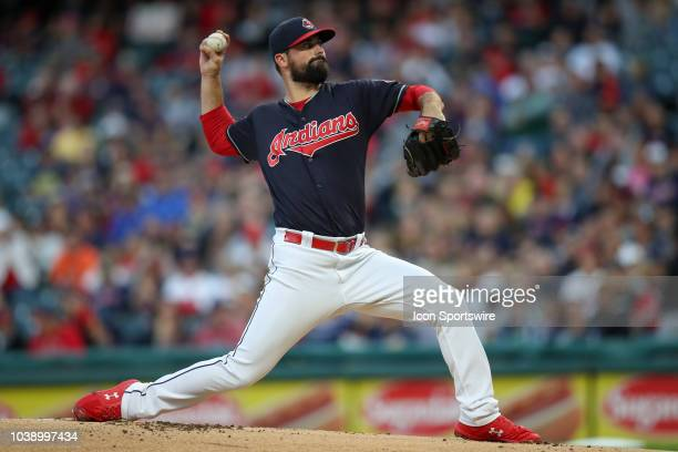 Cleveland Indians pitcher Adam Plutko delivers a pitch to the plate during the first inning of the Major League Baseball game between the Boston Red...