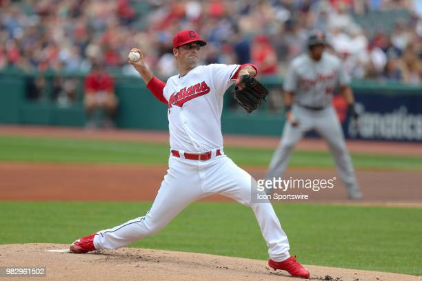 Cleveland Indians pitcher Adam Plutko delivers a pitch to the plate during the first inning of the Major League Baseball game between the Detroit...