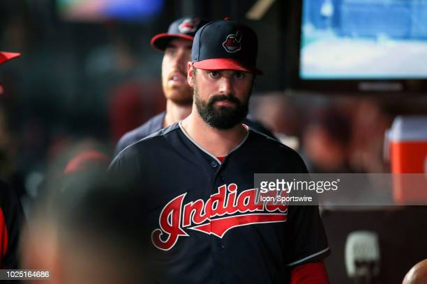 Cleveland Indians pitcher Adam Plutko in the dugout after leaving the game during the sixth inning of the Major League Baseball game between the...