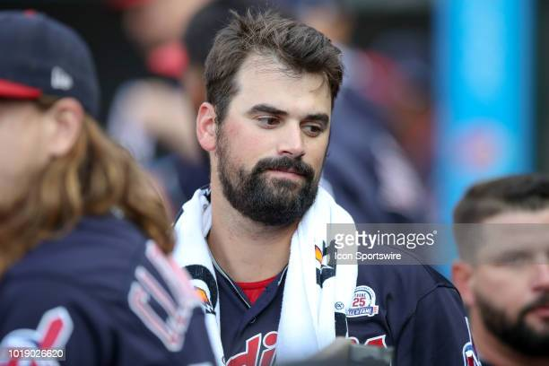 Cleveland Indians pitcher Adam Plutko in the dugout during the seventh inning of the Major League Baseball game between the Baltimore Orioles and...