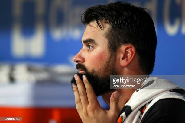 Cleveland Indians pitcher Adam Plutko in the dugout during the third inning of the Major League Baseball game between the Boston Red Sox and...