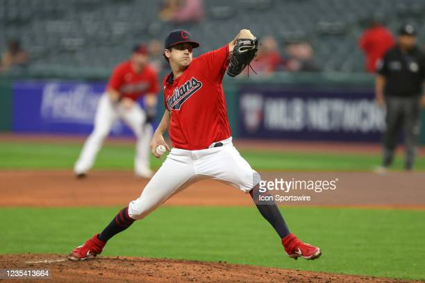 Cleveland Indians pitcher Cal Quantrill delivers a pitch to the plate during the fourth inning of the the Major League Baseball game between the...