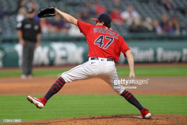 Cleveland Indians pitcher Cal Quantrill delivers a pitch to the plate during the third inning of the the Major League Baseball game between the...