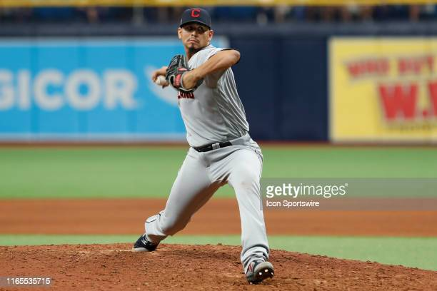 Cleveland Indians pitcher Carlos Carrasco delivers a pitch during the MLB game between the Cleveland Indians and Tampa Bay Rays on September 1, 2019...