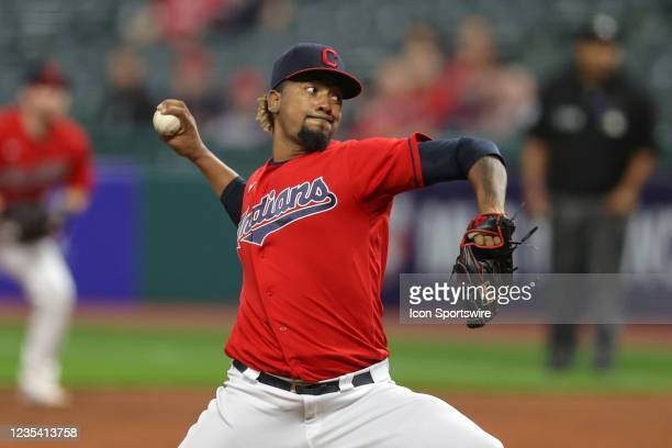 Cleveland Indians pitcher Emmanuel Clase delivers a pitch to the plate during the eighth inning of the the Major League Baseball game between the...