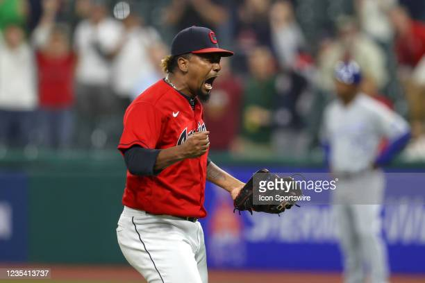 Cleveland Indians pitcher Emmanuel Clase reacts after striking out Kansas City Royals right fielder Kyle Isbel for the final out of the the Major...