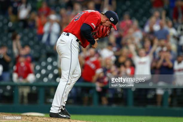 Cleveland Indians pitcher James Karinchak reacts after striking out Detroit Tigers right fielder Victor Reyes to end the Major League Baseball game...