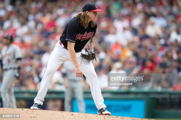 Cleveland Indians pitcher Mike Clevinger looks in for a sign during the third inning of the Major League Baseball game between the Detroit Tigers and...