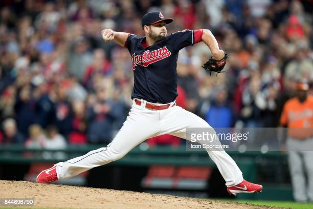 Cleveland Indians pitcher Nick Goody delivers a pitch to the plate during the ninth inning of the Major League Baseball game between the Baltimore...