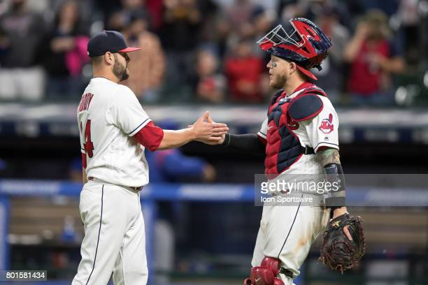 Cleveland Indians pitcher Nick Goody is congratulated by Cleveland Indians catcher Roberto Perez following the Major League Baseball game between the...
