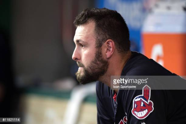Cleveland Indians pitcher Nick Goody sits in the dugout after leaving the game after loading the bases during the sixth inning of the the Major...