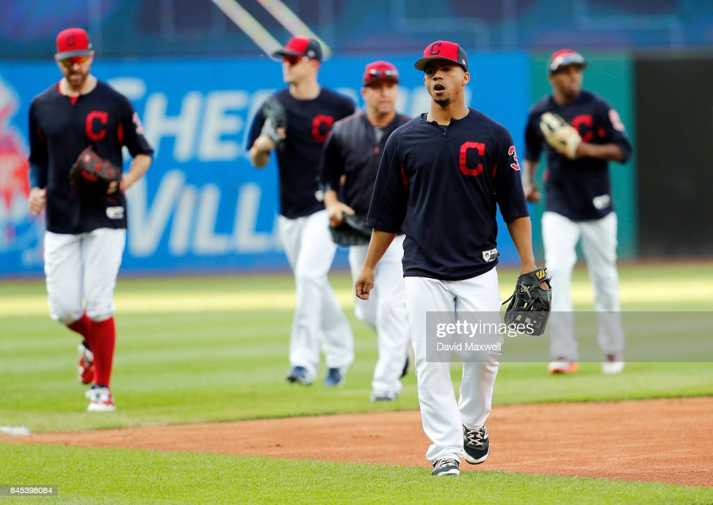 Cleveland Indians players including Francisco Mejia #33 walk to the dugout following batting practice before the game against the Baltimore Orioles at Progressive Field on September 10, 2017 in Cleveland, Ohio.