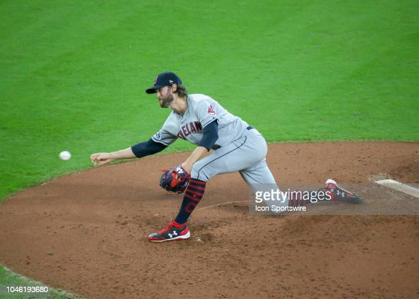 Cleveland Indians relief pitcher Adam Cimber delivers a pitch in the bottom of the fifth inning during the ALDS Game 1 between the Cleveland Indians...