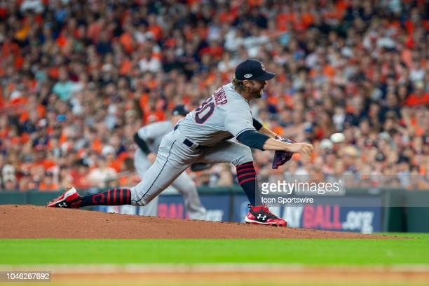 Cleveland Indians relief pitcher Adam Cimber delivers the pitch in the fifth inning of game 1 of the ALDS between the Houston Astros and the...