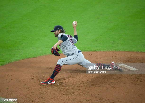 Cleveland Indians relief pitcher Adam Cimber prepares to deliver a pitch in the bottom of the fifth inning during the ALDS Game 1 between the...