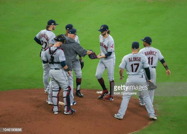 Cleveland Indians relief pitcher Adam Cimber takes over the mound in the bottom of the fifth inning during the ALDS Game 1 between the Cleveland...