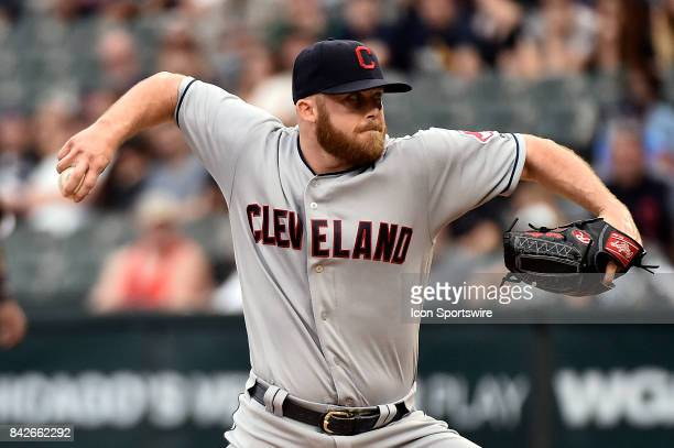 Cleveland Indians relief pitcher Cody Allen pitches during the game between the Cleveland Indians and the Chicago White Sox on September 4 2017 at...