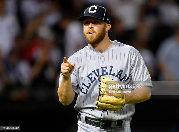 Cleveland Indians relief pitcher Cody Allen reacts during the game between the Cleveland Indians and the Chicago White Sox on July 29 2017 at...