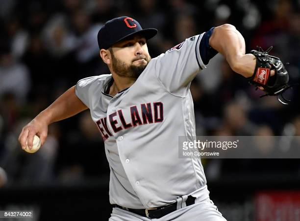 Cleveland Indians relief pitcher Nick Goody pitches the ball during the game between the Cleveland Indians and the Chicago White Sox on September 5...