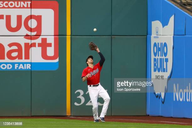 Cleveland Indians right fielder Bradley Zimmer makes a catch in the corner during the first inning of the the Major League Baseball game between the...