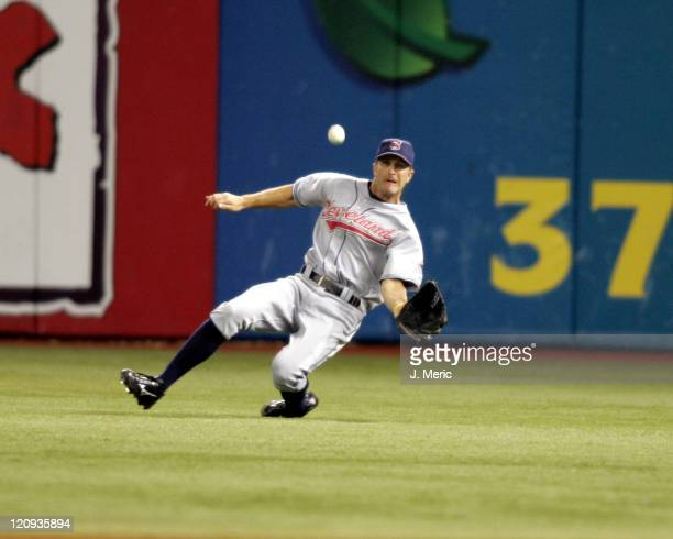 Cleveland Indians right fielder Grady Sizemore makes a great catch in Monday night's game against the Tampa Bay Devil Rays at Tropicana Field in St...