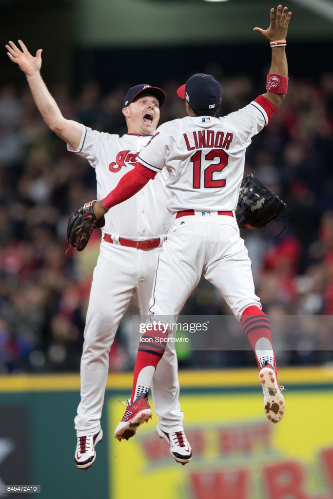 Cleveland Indians right fielder Jay Bruce (32) and Cleveland Indians shortstop Francisco Lindor (12) celebrate following the Major League Baseball game between the Baltimore Orioles and Cleveland Indians on September 10, 2017, at Progressive Field in Cleveland, OH. Cleveland defeated Baltimore 3-2.