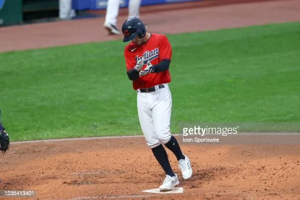 Cleveland Indians second base Ernie Clement celebrates as he crosses the plate after hitting a home run during the second inning of the the Major...