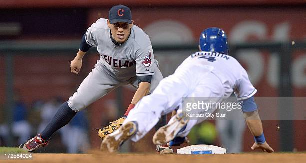 Cleveland Indians shortstop Asdrubal Cabrera left catches the Kansas City Royals' Alex Gordon trying to steal second in the third inning on Wednesday...