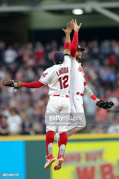 Cleveland Indians shortstop Francisco Lindor and Cleveland Indians outfielder Tyler Naquin celebrate following the Major League Baseball game between...