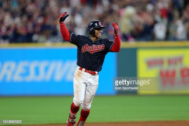 Cleveland Indians shortstop Francisco Lindor celebrates as he rounds the bases after hitting a walkoff 3run home run during the ninth inning of the...