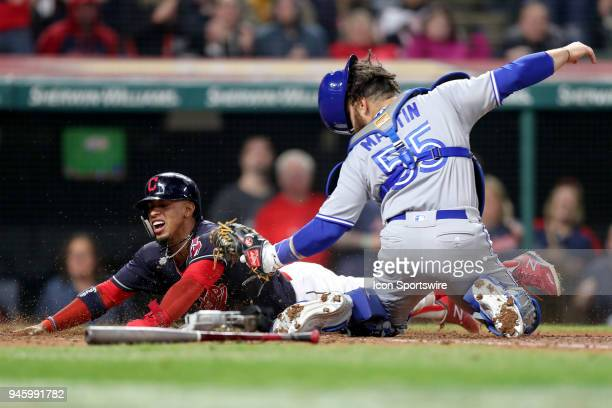 Cleveland Indians shortstop Francisco Lindor is tagged out at home plate by Toronto Blue Jays catcher Russell Martin during the sixth inning of the...