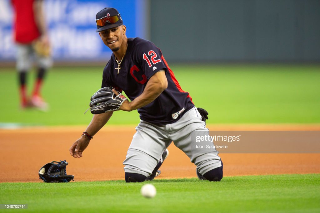 Cleveland Indians shortstop Francisco Lindor on the field