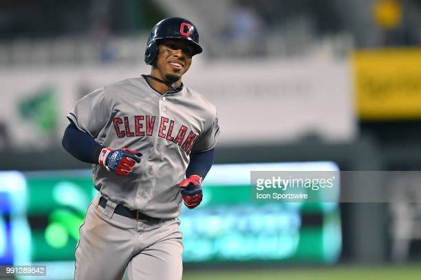 Cleveland Indians shortstop Francisco Lindor runs the bases after hitting a threerun home run in the sixth inning during a Major League Baseball game...