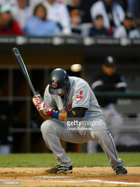 Cleveland Indians' Shortstop Jhonny Peralta ducks a Javier Vazquez pitch during their game against the Chicago White Sox June 9 2006 at US Cellular...