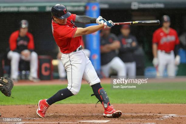 Cleveland Indians shortstop Yu Chang hits a bases loaded triple to left to drive in 3 runs during the first inning of the the Major League Baseball...
