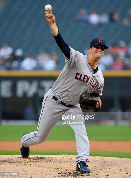 Cleveland Indians starting pitcher Adam Plutko delivers the ball against the Chicago White Sox on June 12 2018 at Guaranteed Rate Field in Chicago...
